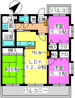 プロムナード・セリーヌ参番館 / 505号室間取り