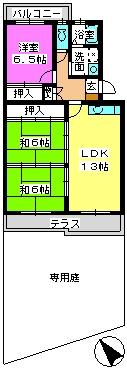 プレジオ篠栗 / 102号室間取り