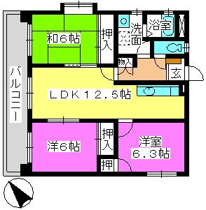 プレジオ篠栗Ⅱ(ペット可) / 203号室間取り