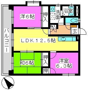 プレジオ篠栗Ⅱ(ペット可) / 303号室間取り