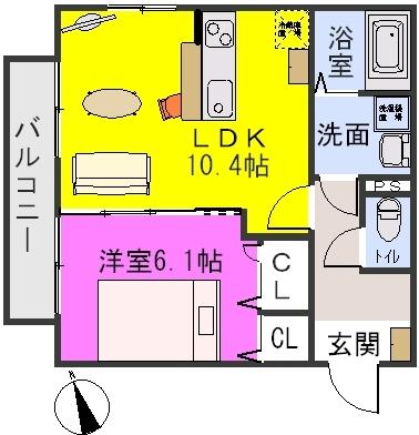 シルキー / 205号室間取り