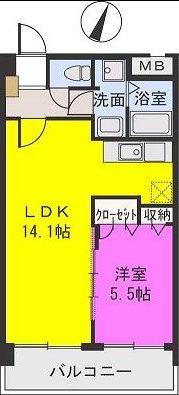 エアポートハイム東平尾(ペット可) / 102号室間取り