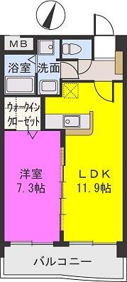 エアポートハイム東平尾(ペット可) / 303号室間取り