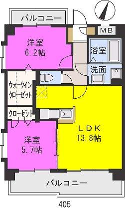 エアポートハイム東平尾(ペット可) / 405号室間取り