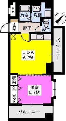 B・Jハウス博多 / 805号室間取り