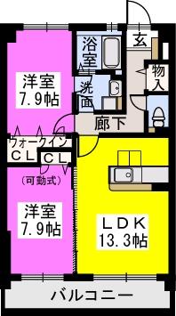 スルス門松Ⅱ / 105号室間取り