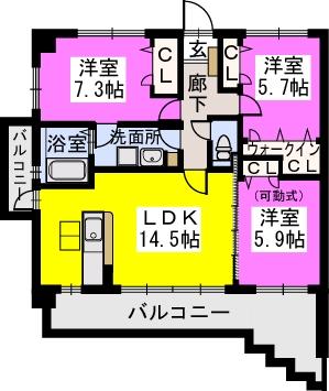スルス門松Ⅱ / 406号室間取り