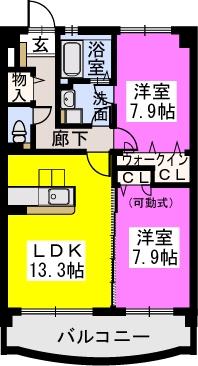 スルス門松Ⅱ / 503号室間取り