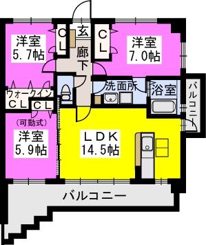 スルス門松Ⅱ / 601号室間取り