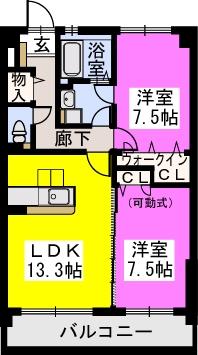 スルス門松Ⅱ / 602号室間取り