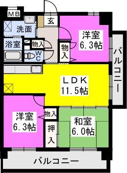 チュリス門松 / 201号室間取り