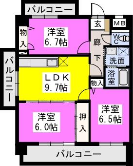 チュリス門松 / 304号室間取り