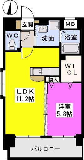 スルス門松駅前Ⅱ / 401号室間取り