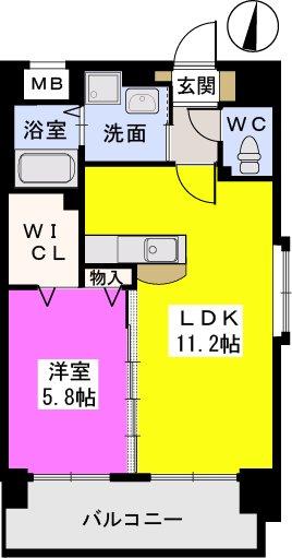 スルス門松駅前Ⅱ / 403号室間取り