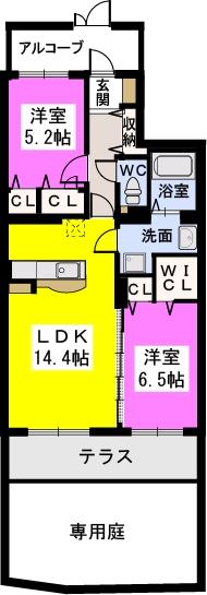 ラ・プランタン門松(ペット可) / 102号室間取り