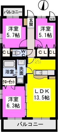 ラ・プランタン門松(ペット可) / 301号室間取り