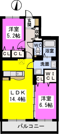 ラ・プランタン門松(ペット可) / 302号室間取り