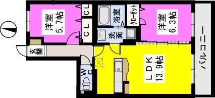 ラ・プランタン門松(ペット可) / 303号室間取り