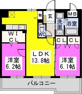 カーサ宮ノ前Ⅱ / 201号室間取り