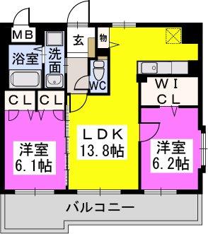 カーサ宮ノ前Ⅱ / 403号室間取り