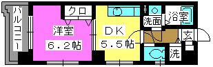 フローレス東比恵 / 603号室間取り