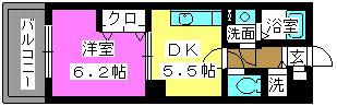 フローレス東比恵 / 702号室間取り
