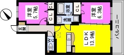ドゥース・ファミーユ駅南 / 402号室間取り