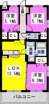 Felice Nagakuni / 305号室間取り