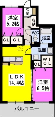 Felice Nagakuni / 402号室間取り