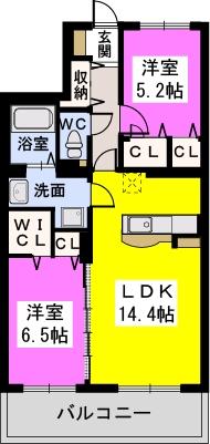 Felice Nagakuni / 407号室間取り