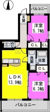 メゾン ド ノアール / 201号室間取り
