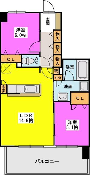 ネオグレイス吉塚(ペット可) / 1402号室間取り