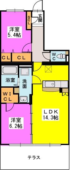 プレア博多の森Ⅱ / 102号室間取り