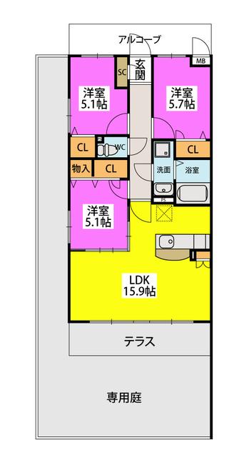 仮)プレアev片峰1丁目 / 105号室間取り