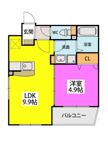 カサ ベルデ原町駅前 / 103号室間取り