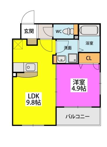 カサ ベルデ原町駅前 / 201号室間取り