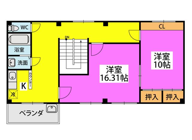 吉塚6丁目貸家 / 201号室間取り