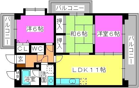 ハイ・アルブル迎田 / 203号室