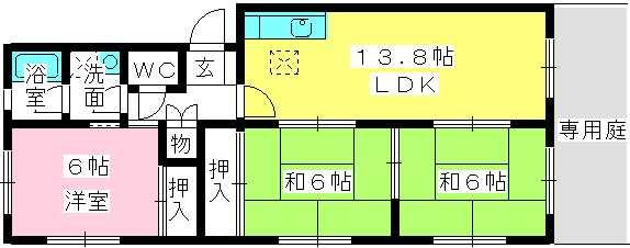 クレスト5周船寺 / 105号室間取り
