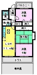 クレール・コモⅡ / 105号室間取り