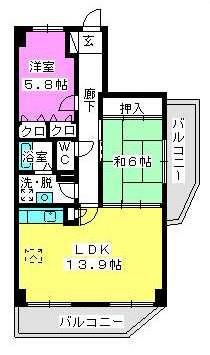 ノーブル伊都 / 201号室間取り
