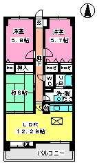 ハイツ千里台Ⅱ / 102号室間取り