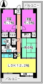 ハイツ千里台Ⅱ / 205号室間取り