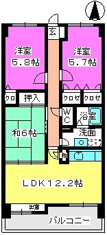 ハイツ千里台Ⅱ / 703号室間取り