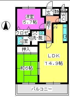 エスターテ横浜 / 202号室間取り
