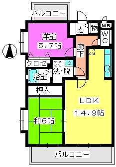 エスターテ横浜 / 301号室間取り