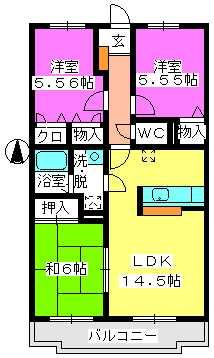 ハイツ千里台Ⅲ / S205号室間取り