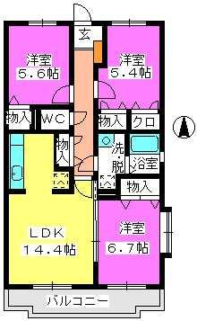 ハイツ千里台Ⅲ / 207号室間取り