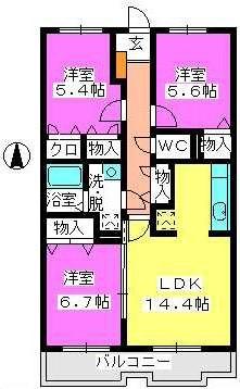 ハイツ千里台Ⅲ / 208号室間取り
