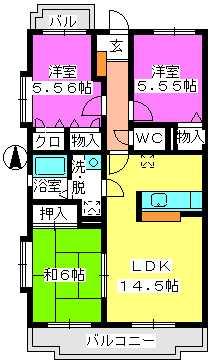 ハイツ千里台Ⅲ / 306号室間取り
